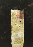 American Flag Mixed Media Originals - FlagCollagePainting by Christina Knapp