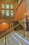 Wooden Stairs Metal Prints - Flagler College Entryway Metal Print by Rich Franco
