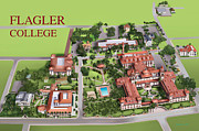 Birdseye Drawings Metal Prints - Flagler College Metal Print by Rhett and Sherry  Erb