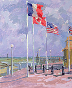 Blue Purple Paintings - Flags at Courseulles Normandy  by Sarah Butterfield