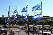 Entrances Prints - Flags At Pier 39 San Francisco California 5D26036 Print by Wingsdomain Art and Photography
