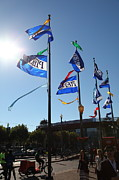 Entrances Prints - Flags At Pier 39 San Francisco California 5D26138 Print by Wingsdomain Art and Photography