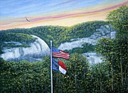American Eagle Paintings - Flags At Sunset by Fran Brooks