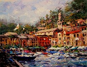 Flags Flyin In Portofino Print by R W Goetting