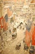 Old Glory Paintings - Flags on 57th Street by Nomad Art And  Design