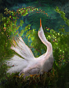 Flocks Of Birds Prints - Flamboyant Egret Print by Melinda Hughes-Berland