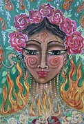 Kingdoms Mixed Media Posters - Flame Fairy Poster by Maya Telford