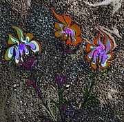 Fanciful Metal Prints - Flame Flowers Metal Print by Mike Breau