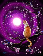 Cherry Blossoms Painting Prints - Flame Point Siamese Cat in Dancing Cherry Blossoms Print by Laura Iverson