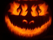 Carving Sculpture Prints - Flame Pumpkin Print by Shawn Dall