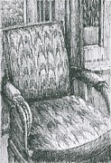 Chair Drawings Framed Prints - Flame-stitch Chair Framed Print by Deborah Roskopf