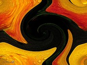 Abstract Composition Paintings - Flame Twirls by J McCombie