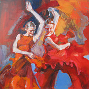 With Hands Paintings - Flamenco  14-11 by Renata Domagalska