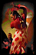 Tradigital Art Prints - Flamenco Print by Byron Fli Walker