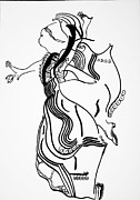 Jesus Drawings Prints - Flamenco Dance Print by Gloria Ssali
