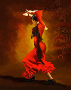 Ballet Dancers Painting Prints - Flamenco Dancer 0013 Print by Catf
