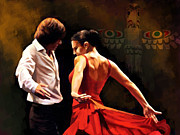 Spanish Dancing Painting Prints - Flamenco Dancer 012 Print by Catf