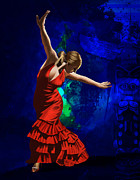 Flamenco Posters - Flamenco Dancer 014 Poster by Catf