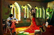 Hotels Painting Posters - Flamenco Dancer 017 Poster by Catf