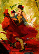 Ballerinas Painting Posters - Flamenco Dancer 019 Poster by Catf