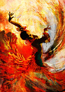 Hotels Painting Posters - Flamenco Dancer 021 Poster by Catf