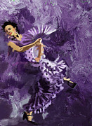 Ballet Dancers Painting Prints - Flamenco Dancer 023 Print by Catf