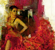 Ballet Dancers Painting Framed Prints - Flamenco Dancer 024 Framed Print by Catf