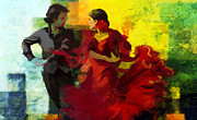 Ballet Dancers Painting Framed Prints - Flamenco Dancer 025 Framed Print by Catf