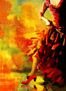 Expressionist Framed Prints - Flamenco Dancer 026 Framed Print by Catf