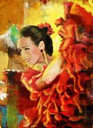 Expressionist Framed Prints - Flamenco Dancer 027 Framed Print by Catf