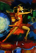 Expressionist Framed Prints - Flamenco Dancer 029 Framed Print by Catf
