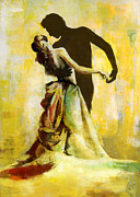 Ballet Dancers Painting Framed Prints - Flamenco Dancer 031 Framed Print by Catf