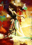 Expressionist Framed Prints - Flamenco Dancer 032 Framed Print by Catf