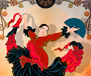 Digital Dancer Posters - Flamenco Dancer Poster by Bedros Awak