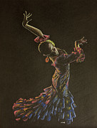 Dancer Pastels Originals - Flamenco dancer in flowered dress by Martin Howard