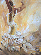 Ruffled Skirt Posters - Flamenco Dancer in White Dress Poster by Sheri  Chakamian
