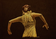 Dancer Pastels Originals - Flamenco dancer in yellow dress by Martin Howard