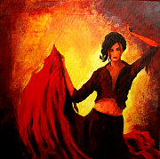 Wine Woman  Paintings - Flamenco Dancer by Patricia Awapara