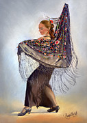 Shawl Painting Originals - Flamenco dancer with shawl by Margaret Merry