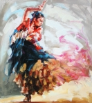 Woman In Black Dress Paintings - Flamenco Drama by Renata Domagalska