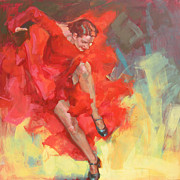 Dance Shoes Posters - FLAMENCO FIRE second version Poster by Renata Domagalska