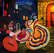 Mexican Fiesta Framed Prints - Flamenco Flare Framed Print by Sushobha Jenner