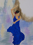 Direct From The Artist Paintings - Flamenco in Blue by April Moseley