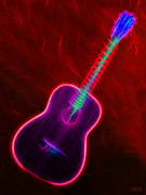 Music Lovers - Flamenco Neon Guitar by Hanza Turgul