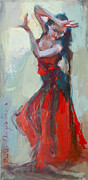 Dance Shoes Posters - Flamenco Red Dress Girl Poster by Renata Domagalska