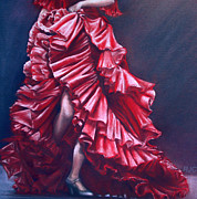 Red Dress Pastels - Flamenco by Rosemary Colyer
