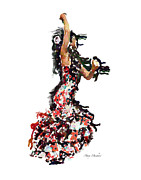 Flamenco Digital Art Prints - Flamenco Series #12 Print by Mary Machare