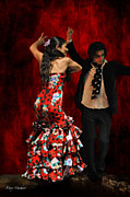 Flamenco Digital Art Prints - Flamenco Series #9 Print by Mary Machare
