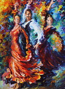 Original Oil Paintings - Flamenco Trio by Leonid Afremov