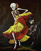 Day Of The Dead Painting Posters - Flamenco VI Poster by Sharon Sieben